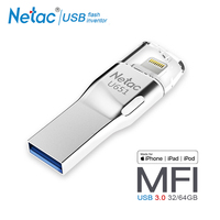 Netac U651 USB 3.0 Flash Drive 64GB MFI Lightning Pendrive For iOS 8.0 Above 32GB 64 GB Pen Drive For iPhone Xs Max X 8 7 6 iPad