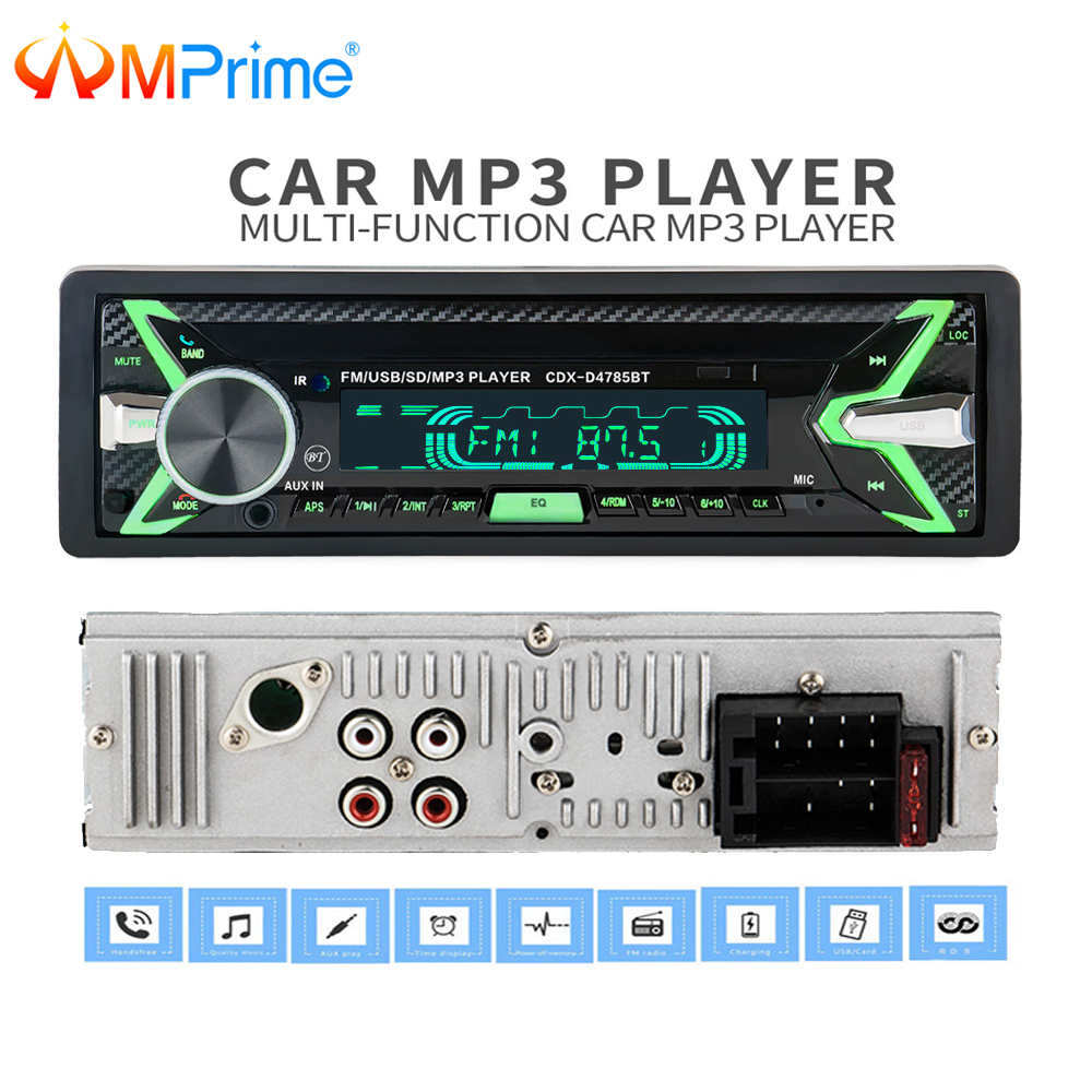 AMPrime 12V Bluetooth Auto Car Radio 1 din Stereo Audio MP3 Player FM Radio Receiver Support Aux Input SD USB MMC Remote Control