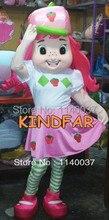 mascot  Strawberry Shortcake Girl Mascot Costume Adult Size Fancy Dress Cartoon Mascotte Outfit Suit EMS FREE SHIPPING