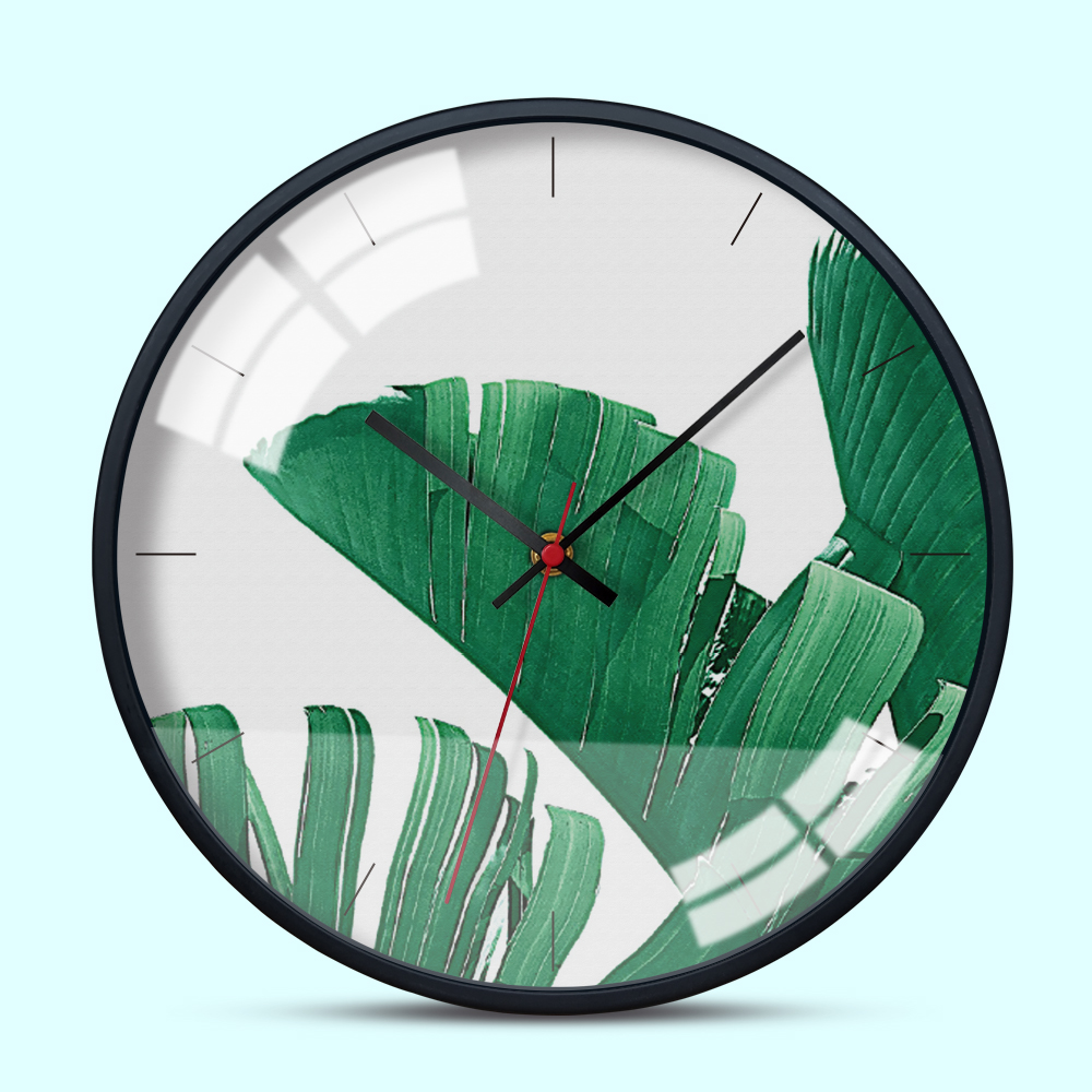 12 Inch Modern Wall Clock Metal Frame Ins Style Tropical Plants Living Room Wall Watch Creative Home Decoration