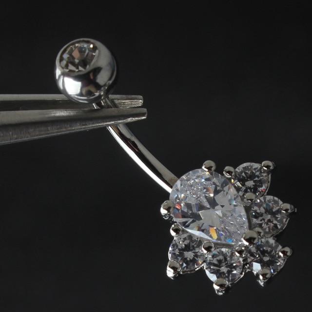 קריסטל רן טבור טבעת כירורגי פלדה 14G בר טבור טבעת פירסינג גוף תכשיטים