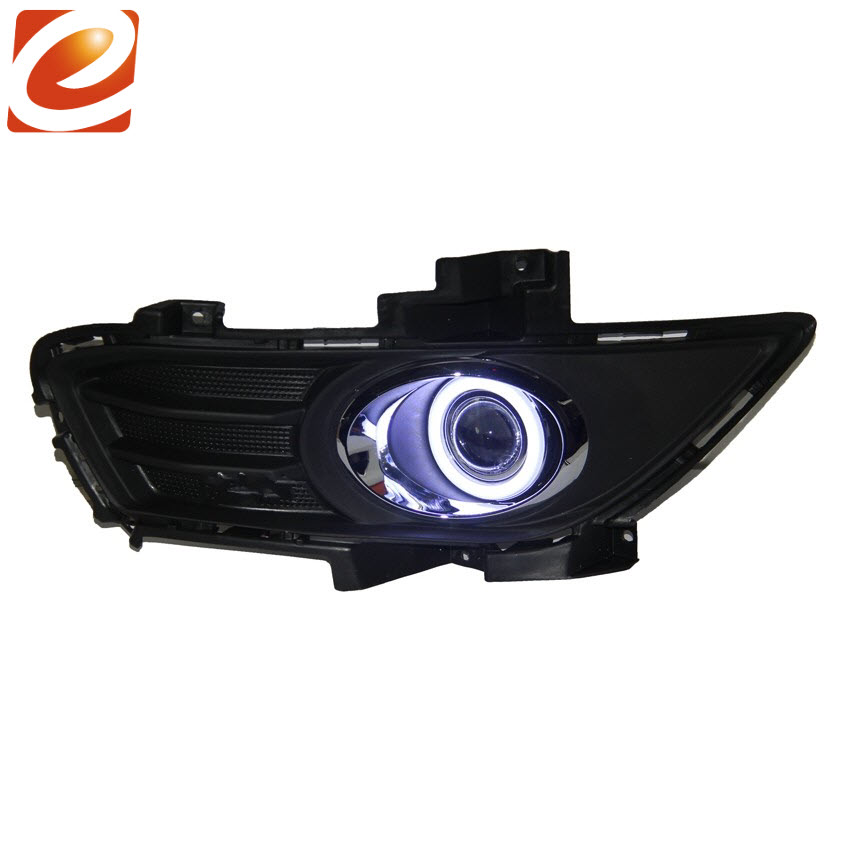 eeMrke COB Angel Eyes DRL For Ford Mondeo H11 30W Bulbs LED Fog Lights Daytime Running Lights Tagfahrlicht Kits eemrke cob angel eyes drl for lexus ct220h ct 200h f sport 30w bulbs led fog lights daytime running lights tagfahrlicht kits