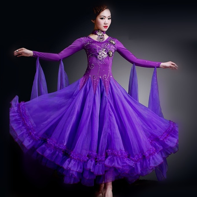 Colours Woman High End Big Swing Standard Ballroom Dance Costume Dress For Competition Sequins Waltz on Foxtrot Dance Costumes