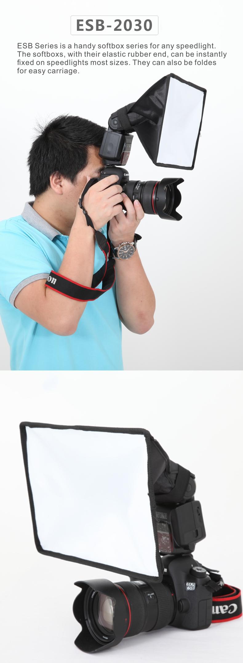Falconeyes ESB2030 Portable Foldable Flash Diffuser Softbox for Canon Nikon Sony DSLR flash Speedlite Photo Studio Accessories 8