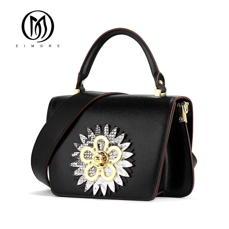 EIMORE 2019 nuevo bolso de diseñador de mujer bolso de mensajero de cuero genuino bolsos de hombro de mujer de moda decoración de flores bolso de mujer-in Bolsos de hombro from Maletas y bolsas    1