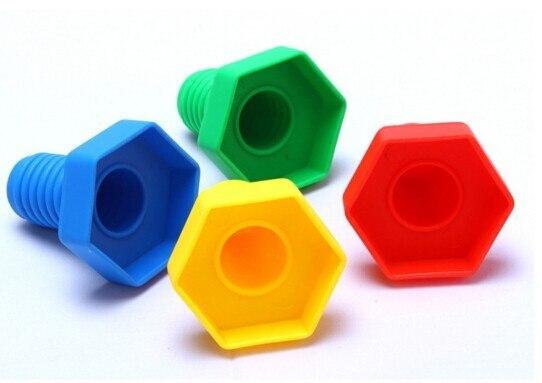 4pairs/lot Screw building blocks plastic insert blocks nut shape toys for children Educational Toys scale models