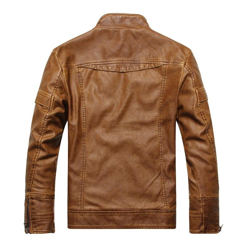 DHfinery invierno chaqueta de cuero de los hombres de pie delgado - Ropa de hombre - foto 4