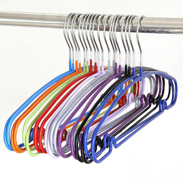 Candy Color Space Saving Plastic Coated Metal Clothes Hanger, Heavy Duty  Non Slip Shirt Dress