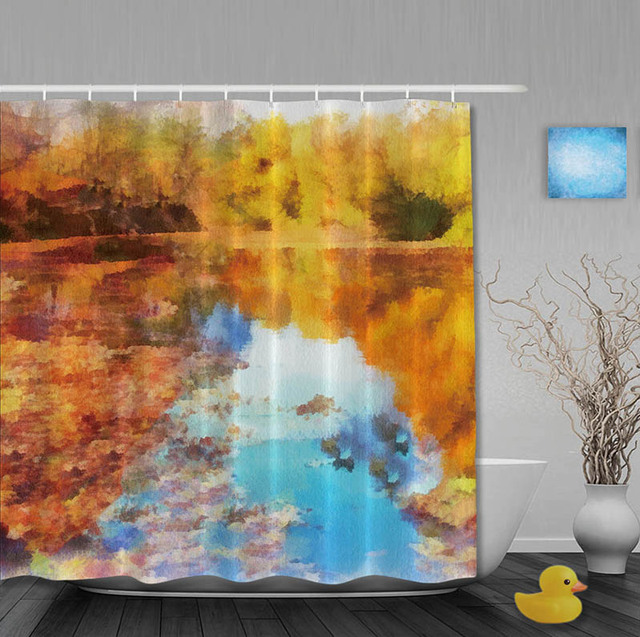 Custom The Golden Autumn Shower Curtains Warm River Polyester Curtain For Bathroom Blue Brown With Hooks