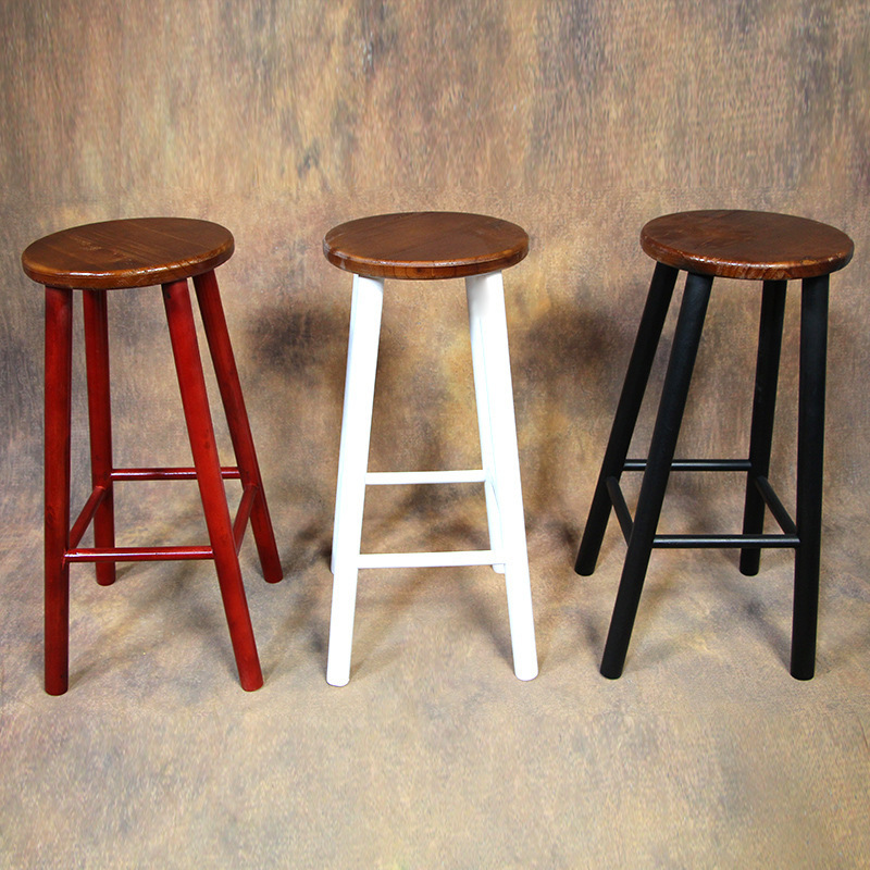 European Retro Simple Wood Tall Bar Stools Wood Bar Restaurant Round  Highchair Color Can Be Customized In Bar Stools From Furniture On  Aliexpress.com ...