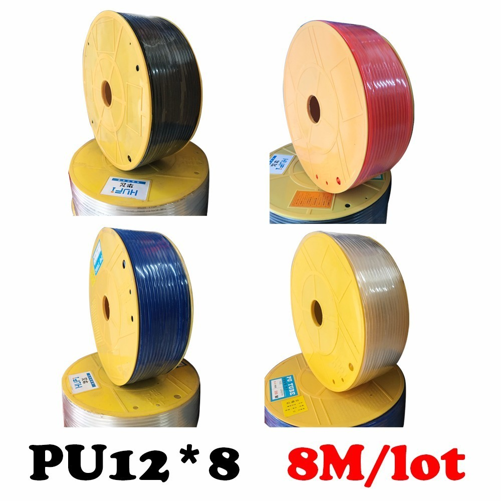 PU12*8  8M/lot Free shipping Air pipe, pneumatic hose, air duct, air compressor parts air & water  Pneumatic parts pneumatic industrial air compressor pu 6x4mm flexible pneumatic tube hose pipe black 4m long free shipping