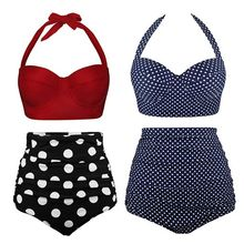 Women Plus Size Two Piece Bikini Set Underwire Halter Crop Top High Waisted Tummy Control Vintage Polka Dot Thong Swimsuit M-3XL купить недорого в Москве