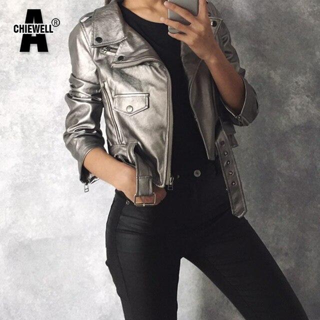 ACHIEWEL Outono Safra Mulheres Jaqueta Pu Prata Lapela Oblique Zipper Estilo Punk Bandage Mulheres PU Couro do Revestimento do Revestimento Tops de Culturas