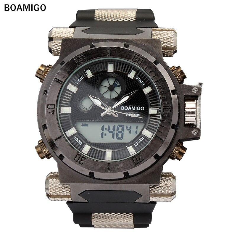 2018 Mens Watches BOAMIGO Luxury Brand Casual Fashion Quartz Waterproof Dual Time Digital Analog Male Clock Relogio Masculino