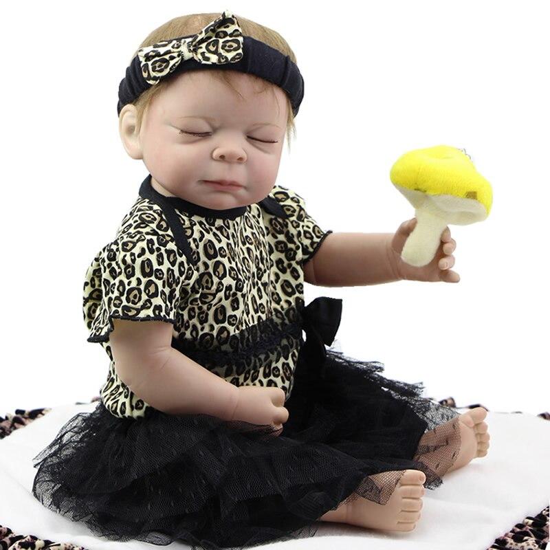 Sleeping Realistic Baby Doll Reborn 20 Inch Newborn Full Silicone Vinyl Alive Babies Dolls With Leopard Dress Kids Playmate sleeping realistic baby doll reborn 20 inch newborn full silicone vinyl alive babies dolls with leopard dress kids playmate