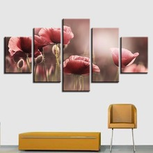 Art Canvas Pictures Modular Frame 5 Pieces Beautiful Pink Flower Paintings Restaurant Living Room HD Printing Posters Wall Decor