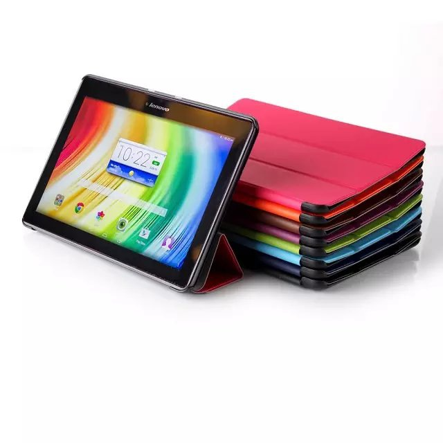 Slim Karst Pattern Tri Folding Stand PU Leather Magnetic Smart Sleep Cover Case For Lenovo Tab 2 A10 A10-70F 10.1 inch Tablet