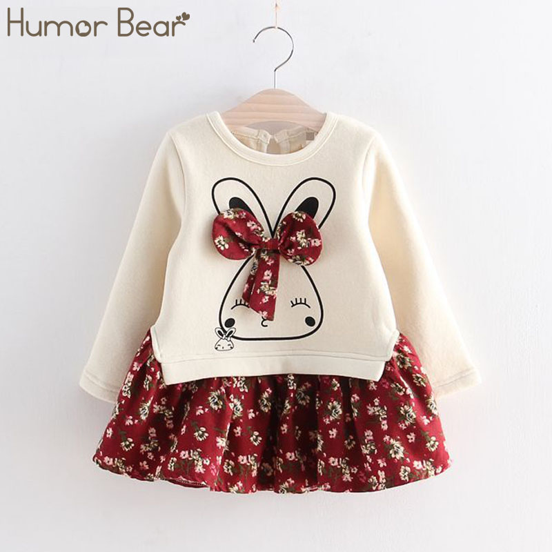 Humor Bear Girls Spring Autumn Flower Princess Dress