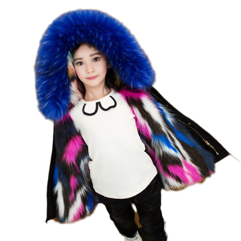 2018 Winter Girls Cool Jackets Boys Hooded Faux Fur Coats Children Casual Thicken Warm Parkas Baby Kids Clothes Outerwears G191