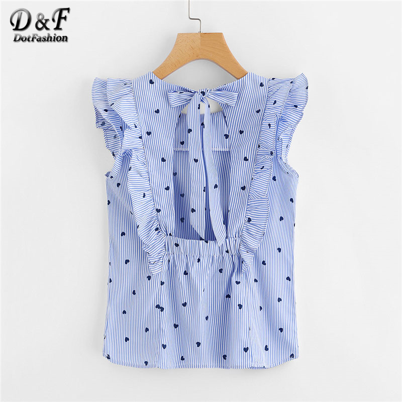 Dotfashion Frill Trim Open Back Bow Tie Detail Striped Top 2018 Summer Cap Sleeve Ruffle Slim Women Top Blue Round Neck Blouse