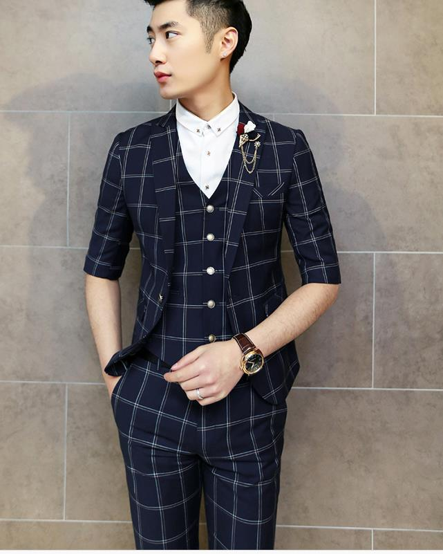 5acb0eccc44 Fashion Designer Half sleeve Business Brand Mens Short Suit (Jacket+trousers+Vest)  Grid Casual Blazer Men Jacket Blazer GM046-in Suits from Men's Clothing ...