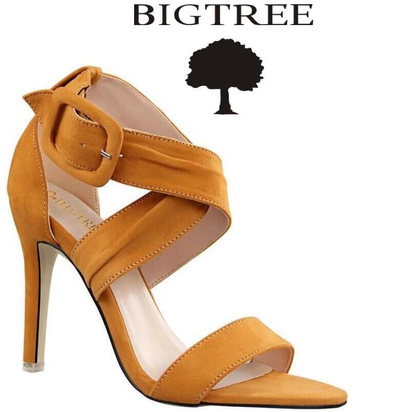 BIGTREE Woman Shoes 2017 Summer Cross-tied Women Sandals Fringe Sandal Heels Flock Thin Heels Sandals sandalias de salto alto choudory gladiator sandals woman high sandalias botas femininas summer sexy cross tied women boots sandal shoes