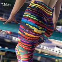 Weljuber Imitation Knitwear Leggings 2018 New Fashion Womens High Waist Push Up Hips Leggings Sexy High Elastic Skinny Trousers(China)