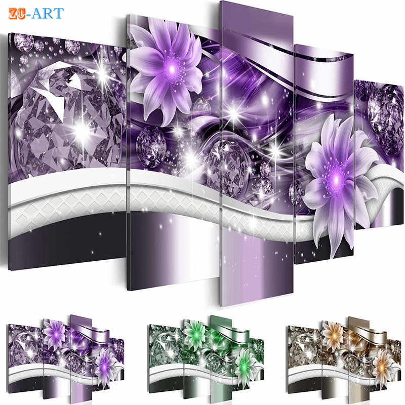 Purple Green and Yellow Magnolias Flowers Prints Canvas Painting 5 Panel Bling Wall Art Living Room Home Decor Gift for Her