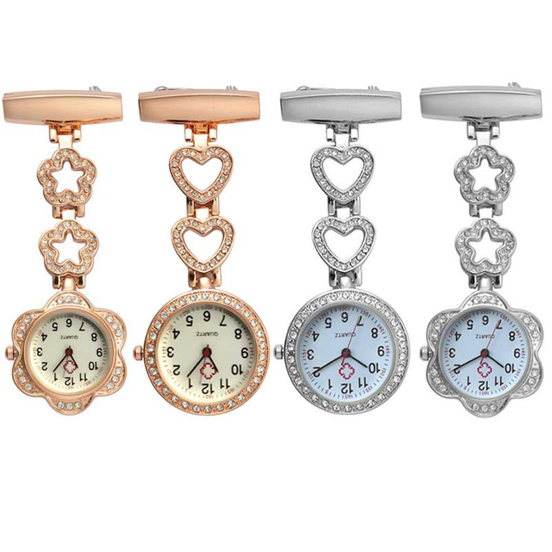 Gold Silver Nurse Pocket Watch Clip-on Heart/Five-pointed Star Pendant Hang Quartz Clock For Medical Doctor Nurse Watches FS