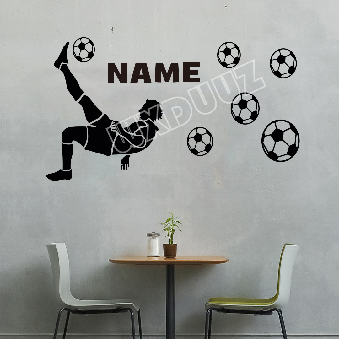 Personalised Football Player Any Name Boys Girls Bedroom Wall Art Decal Sticker