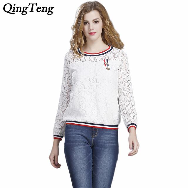 QingTeng Mulheres Oco Out Lace T Shirts Pullover Patchwork O pescoço Manga Longa de Alta Qualidade Tops de Renda Branca Moda Feminina Tees