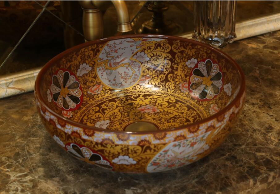 Rond salle de bains comptoir en céramique lavabo évier vestiaire porcelaine vanité cuve bol jyx010