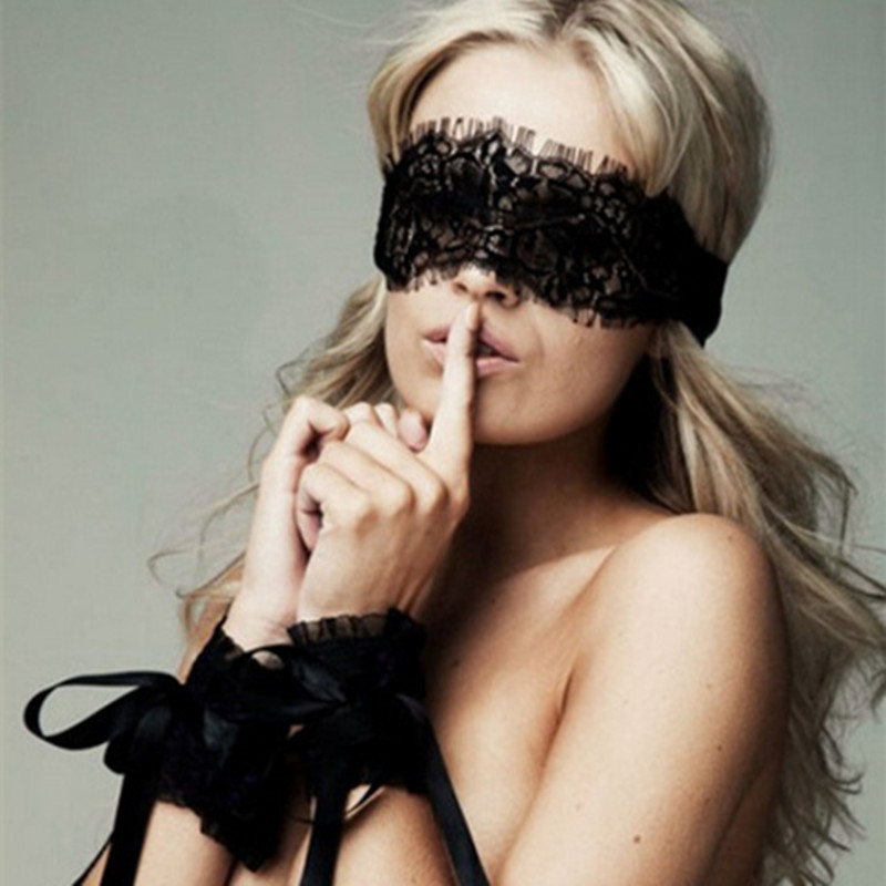 New Women Exotic Apparel Sexy Lingerie Lace <font><b>Mask</b></font> Blindfolded Patch + <font><b>Sex</b></font> Handcuffs <font><b>Sex</b></font> Toys For Couple Erotic Accessories image