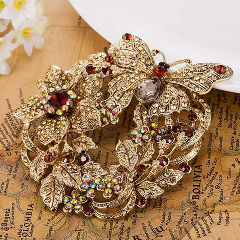 Big Size Butterfly Brooches For Women Wedding Accessory Nice Flower Brooch Pin Brand Rhinestone Crystal Hijab Pins christmas цена 2017