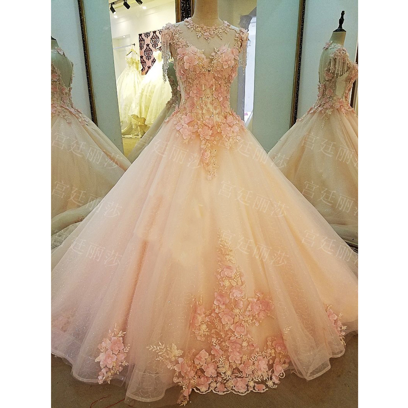 ROmantic Pink Lace   Prom   Evening   Dresses   Tulle Ball Gown Crystals Beading Appliques Pearls Real Photo   Prom     Dresses   Long 2018
