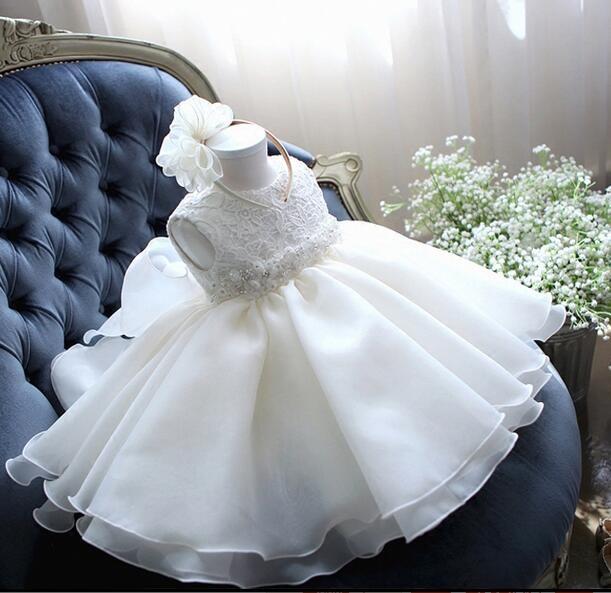 Glizt bébé fille robe blanche en mousseline de soie robe de bal perle arc ceinture robe de baptême pour fille infantile 1 an anniversaire robes de baptême