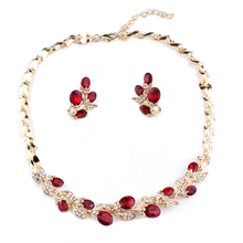 jiayijiaduo Wedding dress jewelry set for charm of women red black white necklace earrings set of chain party gift drop shipping