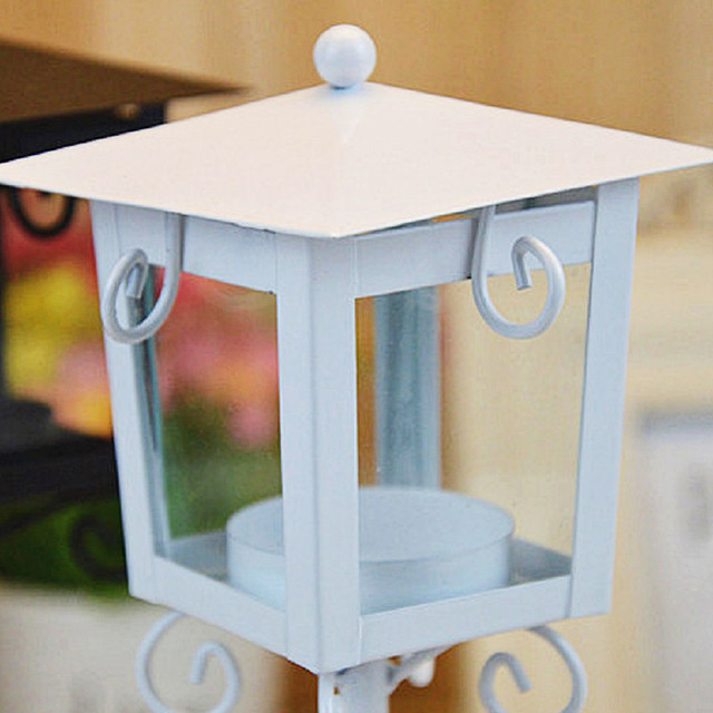 European Classic Stand Lantern Retro Style Candle Holder Wedding Lantern Party Decoration Romantic Feelings White & Black colors 3