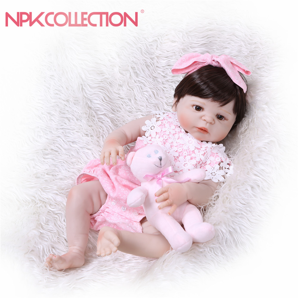 NPKCOLLECTION Baby Reborn Doll Full Body Doll Silicone Vinyl Adorable Lifelike Toddler Baby Bonecas Girl Kid Bebe Reborn Doll curly hair cute girl doll 56cm 22 handmade new fashion silicone reborn doll vinyl lifelike toddler baby bonecas kid doll reborn