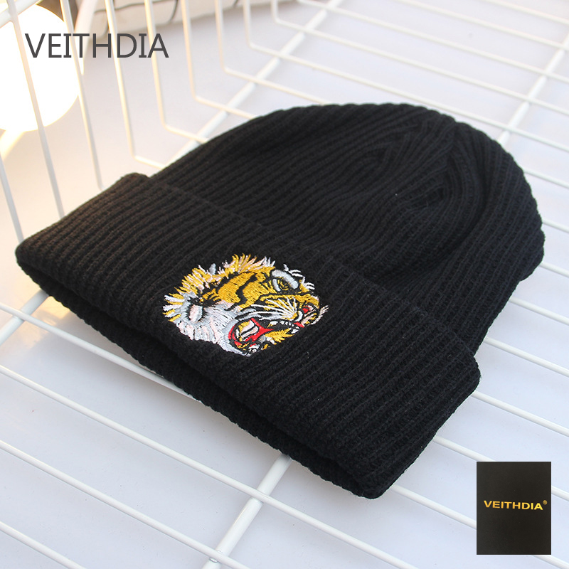 VEITHDIA new autumn and winter tiger head embroidery wool knit hat outdoor ladies hat student warm men cap tide autumn and winter new wool knit hat men and women couple leisure warm letter hat