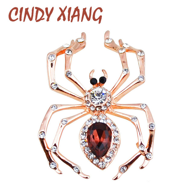 CINDY XIANG Crystal Spider Brooches for Women Rhinestone stInsect Pins and Brooches Animal brooch Fashion Jewelry Zinc Alloy