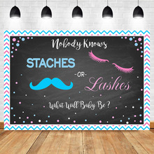 Lashes or Staches Gender Reveal Backdrop Boy Girl Pink Blue Baby Shower Party Background He She Chalkboard Backdrops