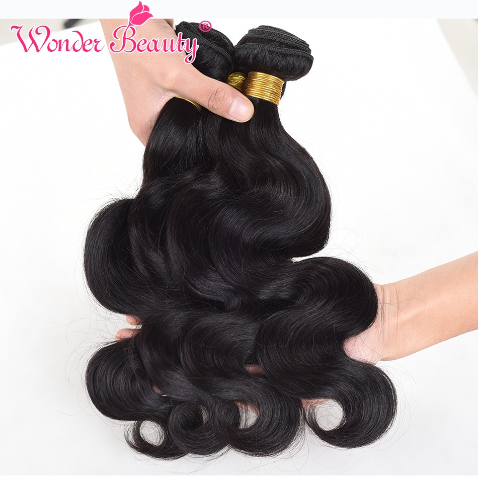 Wonder Beauty Human Hair Extensions Malaysia Body Wave 4 Bundles deal Hair Weaves non remy Natural Black mixed length 8-30inches
