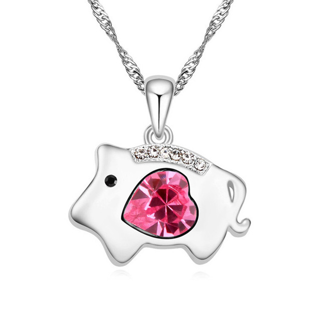 Heart crystal from swarovski chinese zodiac series pig pendant heart crystal from swarovski chinese zodiac series pig pendant necklace for women made with swarovski element mozeypictures Gallery