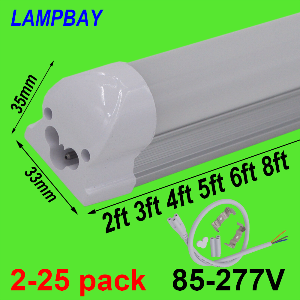 2 25pcs LED Tube Light 2ft 3ft 4ft 5ft 6ft 8ft T8 Integrated Bulb Fixture Surface Mounted 0.6m 0.9m 1.2m 1.5m 1.8m 2.4m Bar Lamp