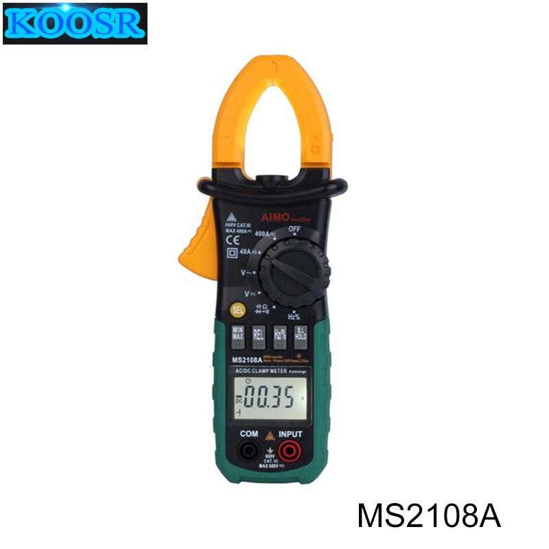 Newest Digital Multimeter Amper Clamp Meter MS2108A Current Clamp Pincers AC DC Current Voltage Capacitor Resistance