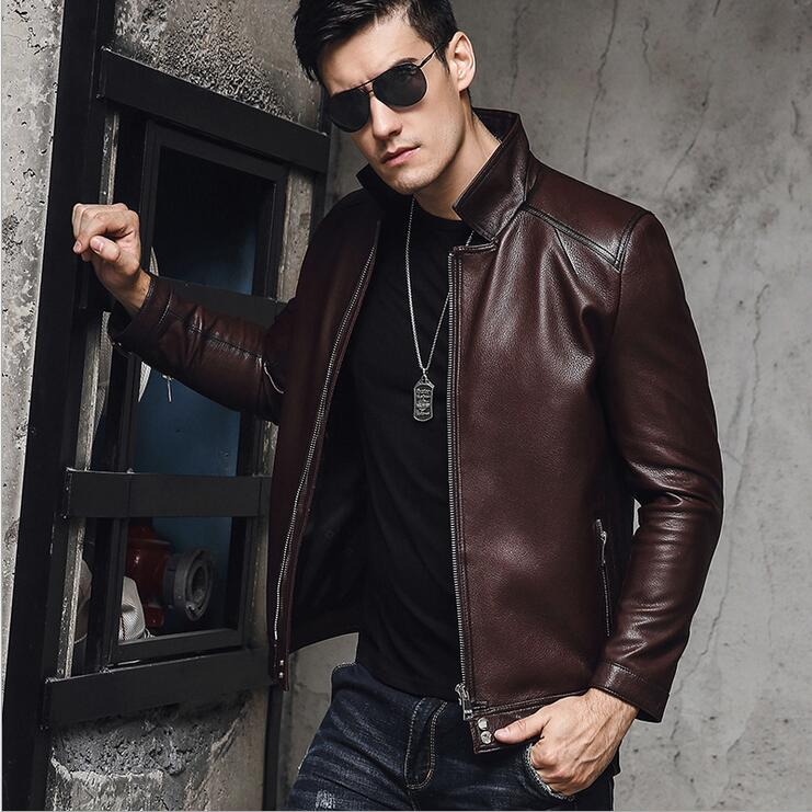 2018 New Men's Genuine Leather Jacket High Quality Goat leather Men Coat Business casual men's leather jackets