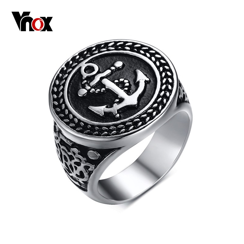 Prix pour Vnox anchor anneaux hommes bijoux en acier inoxydable noir en acier inoxydable bijoux vintage