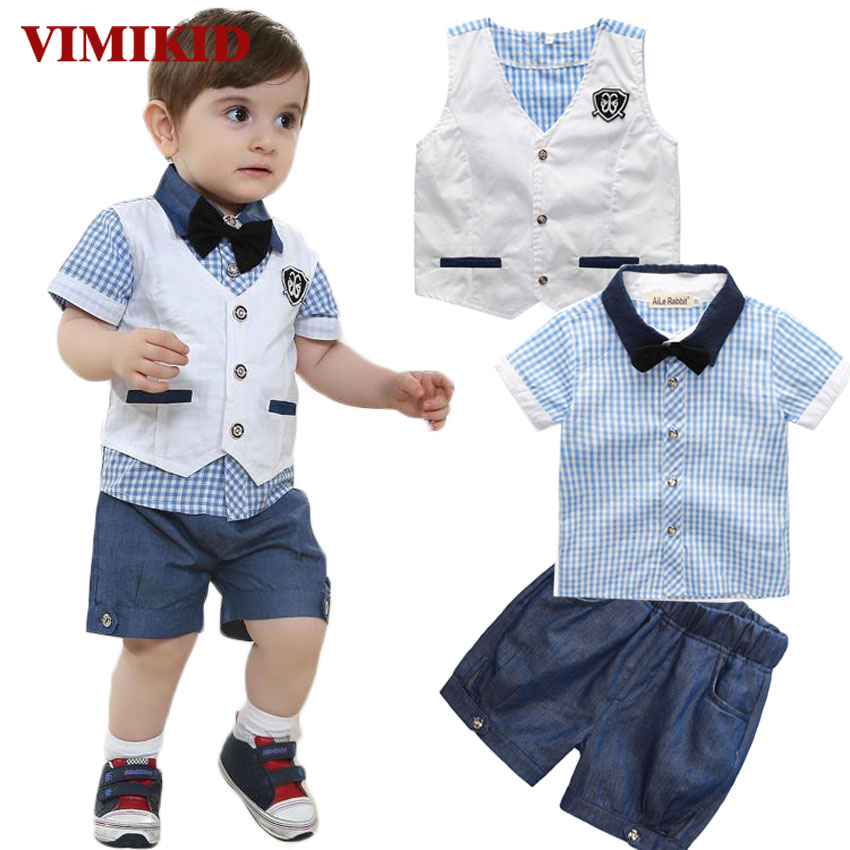 VIMIKID 2017 new Gentleman Suits Vest + T Shirt + Short 3pcs Fashion Boys Baby Clothing Suit Plaid Bow Shorts Summer Set Kids 2017 new pattern small children s garment baby twinset summer motion leisure time digital vest shorts basketball suit