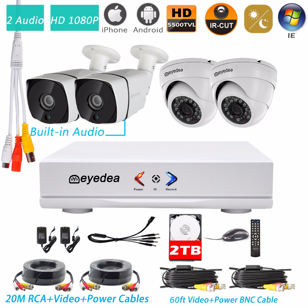 Eyedea 4CH DVR Recorder Audio Build in Video 1080P 5500TVL Dome Bullet Night Vision Surveillance CCTV Security Camera System 2TB